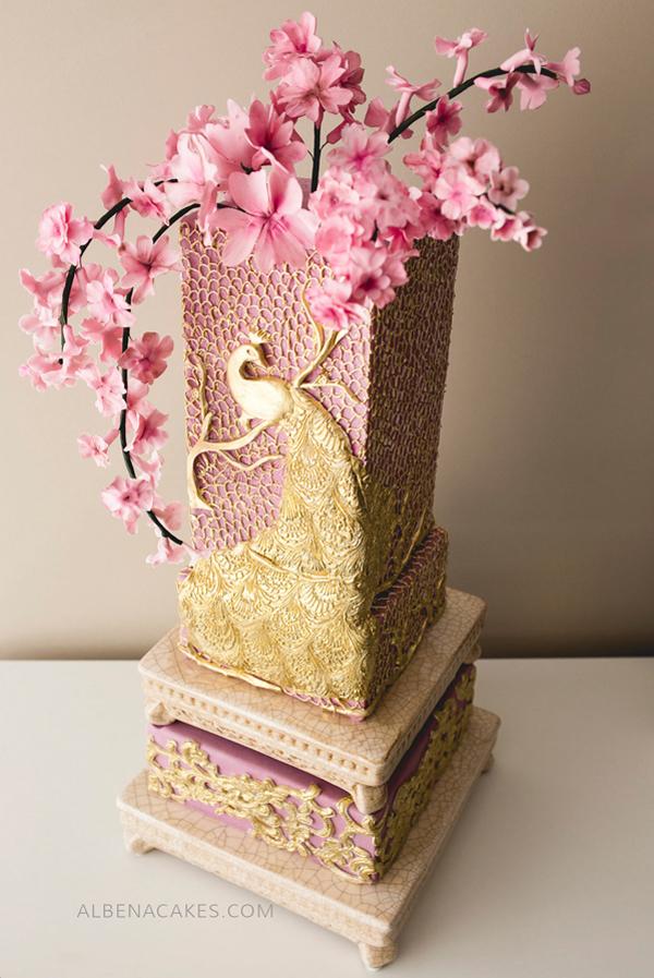 Cherry Blossom Square Cake