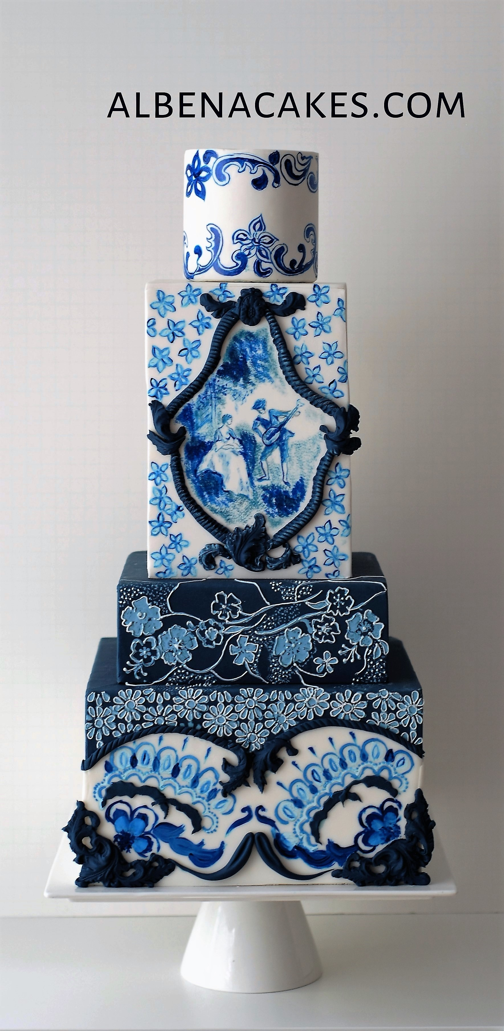 Blue and white patterned wedding