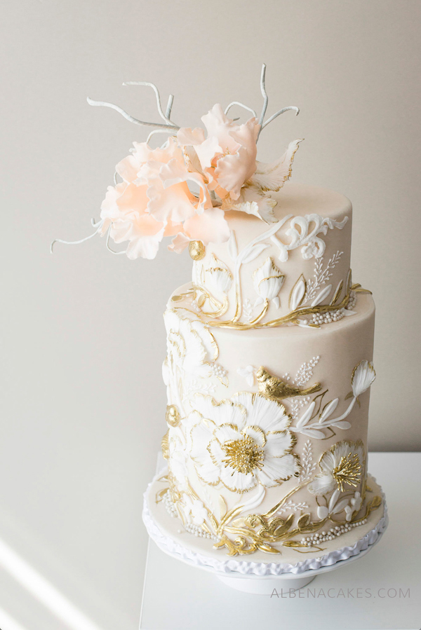Peach and Gold Wedding Cake with bas relief texture