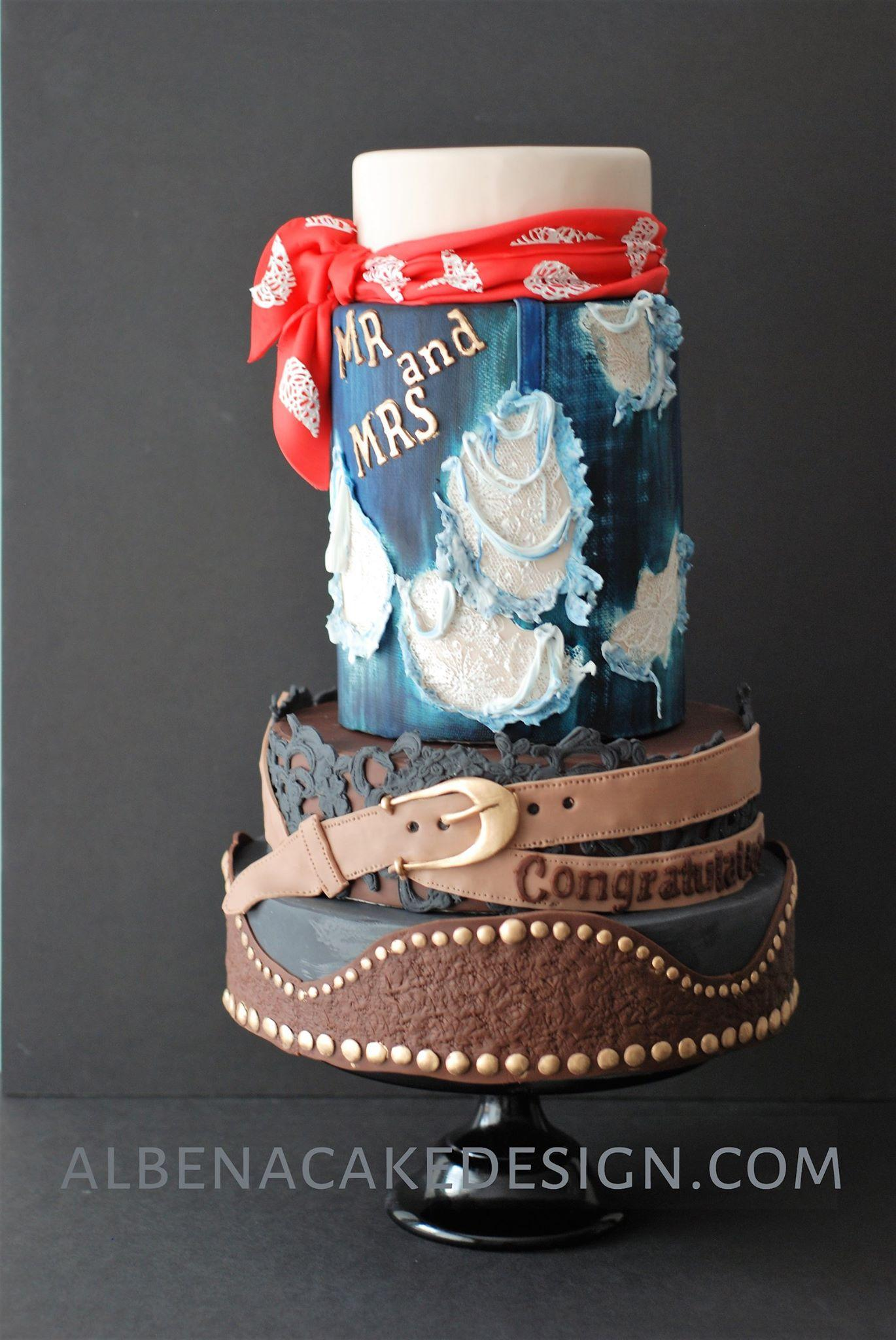 Country western themed cake with brown and blue