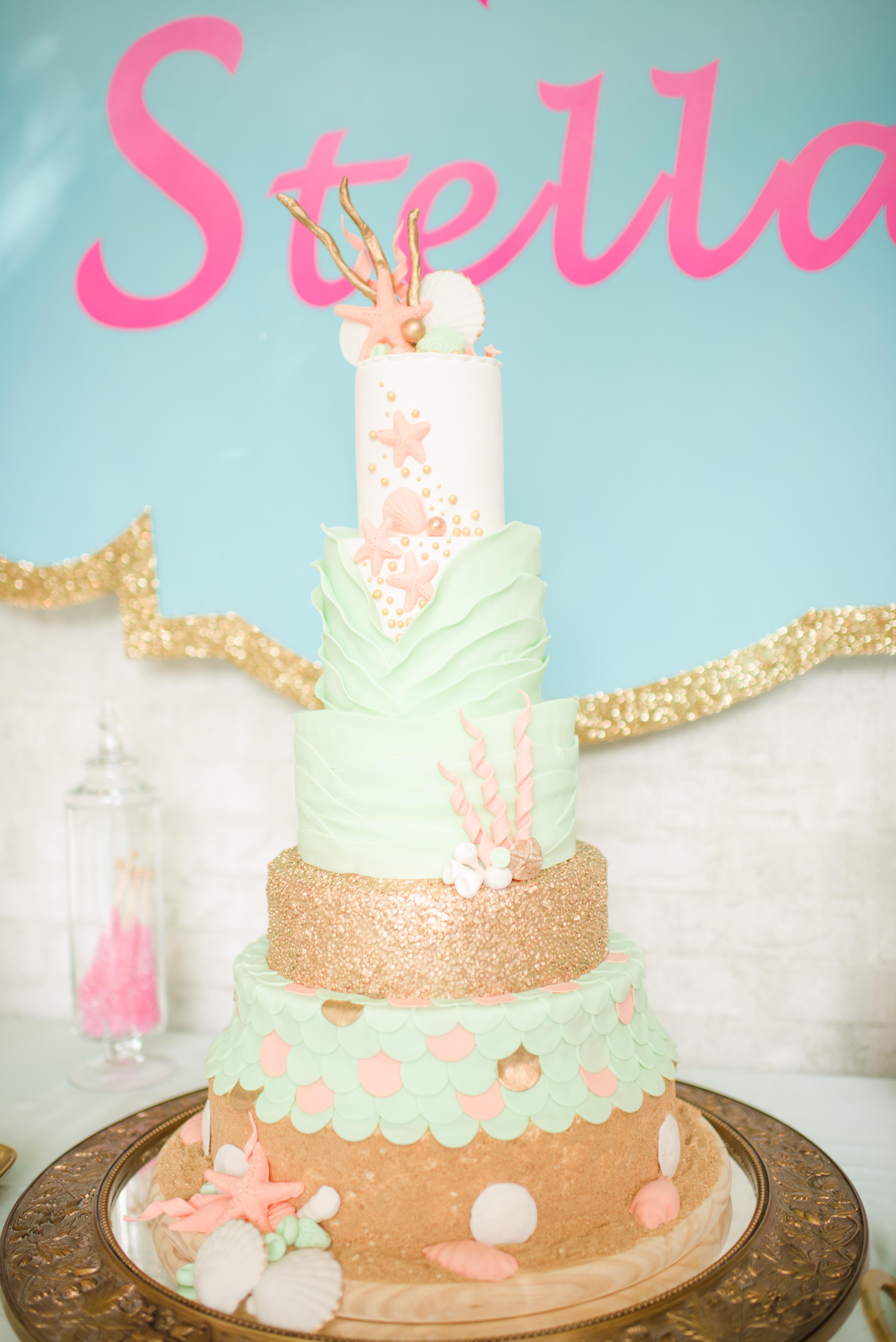 Pastel Under the sea birthday cake