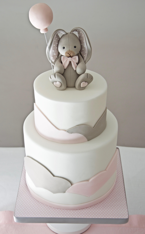 Pink & Gray Bunny Girl Birthday