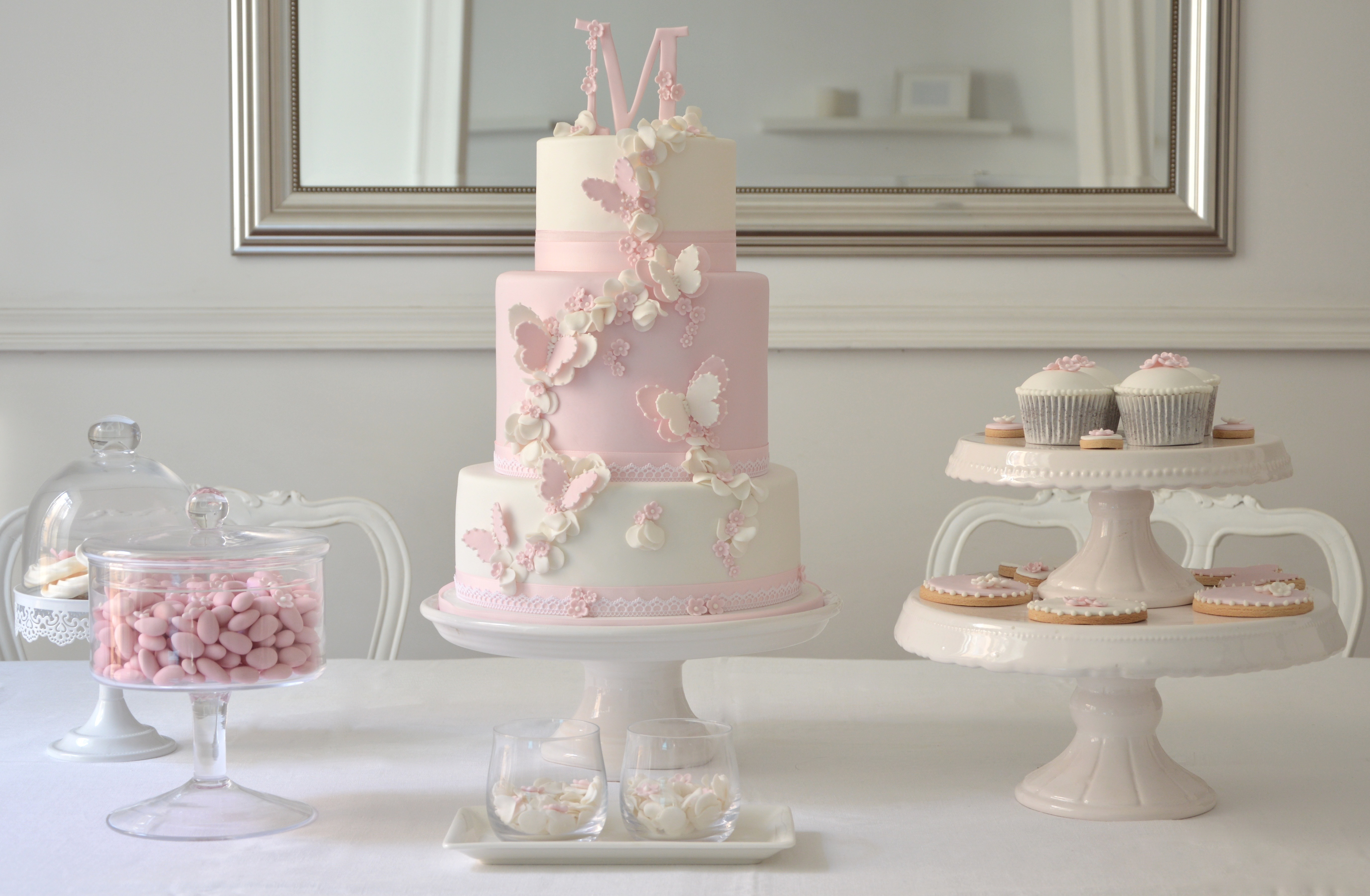Pink & white Butterfly Dessert Table