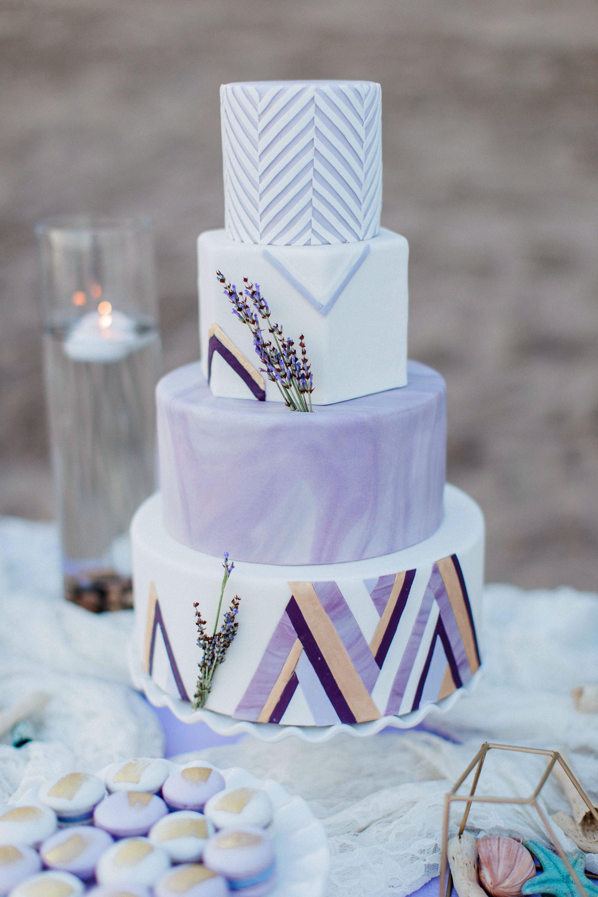 Lavender and white wedding cake