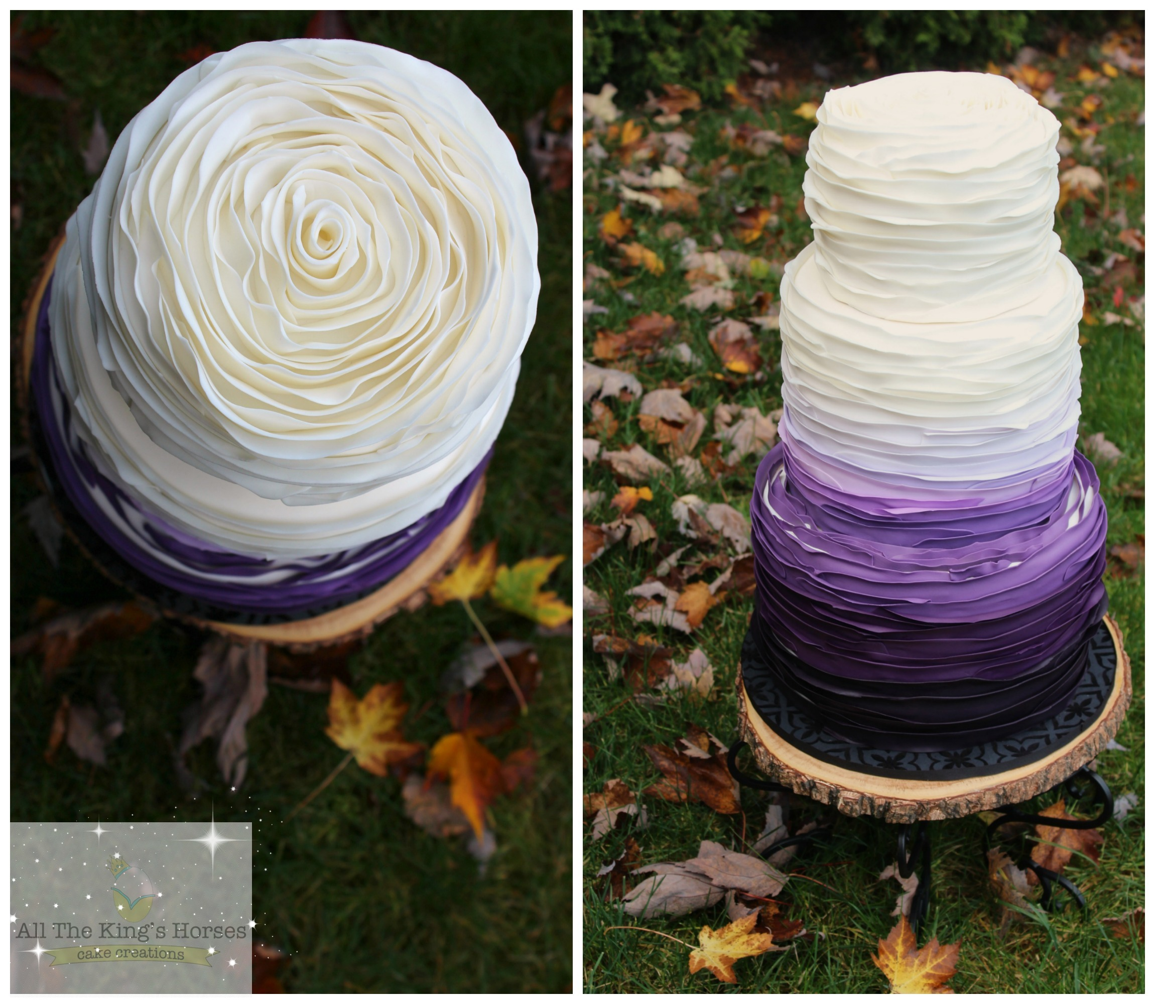 White and purple ombre wedding cake