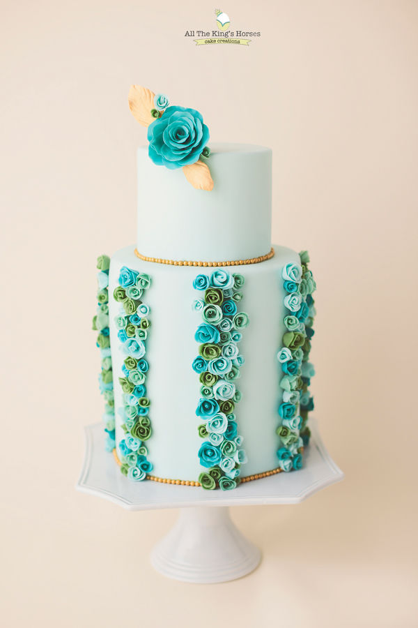 Turquoise & Baby blue Flower Cake with pastel green