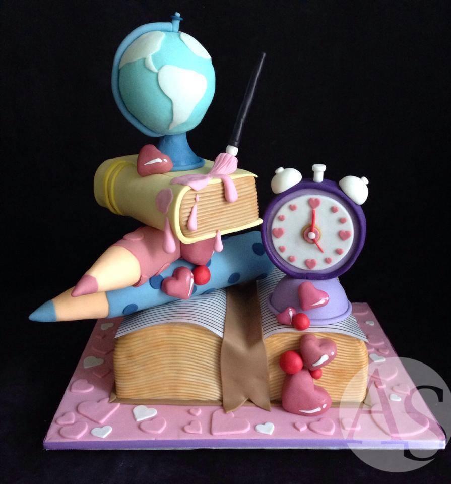 Topsy Turvy Back To School Cake