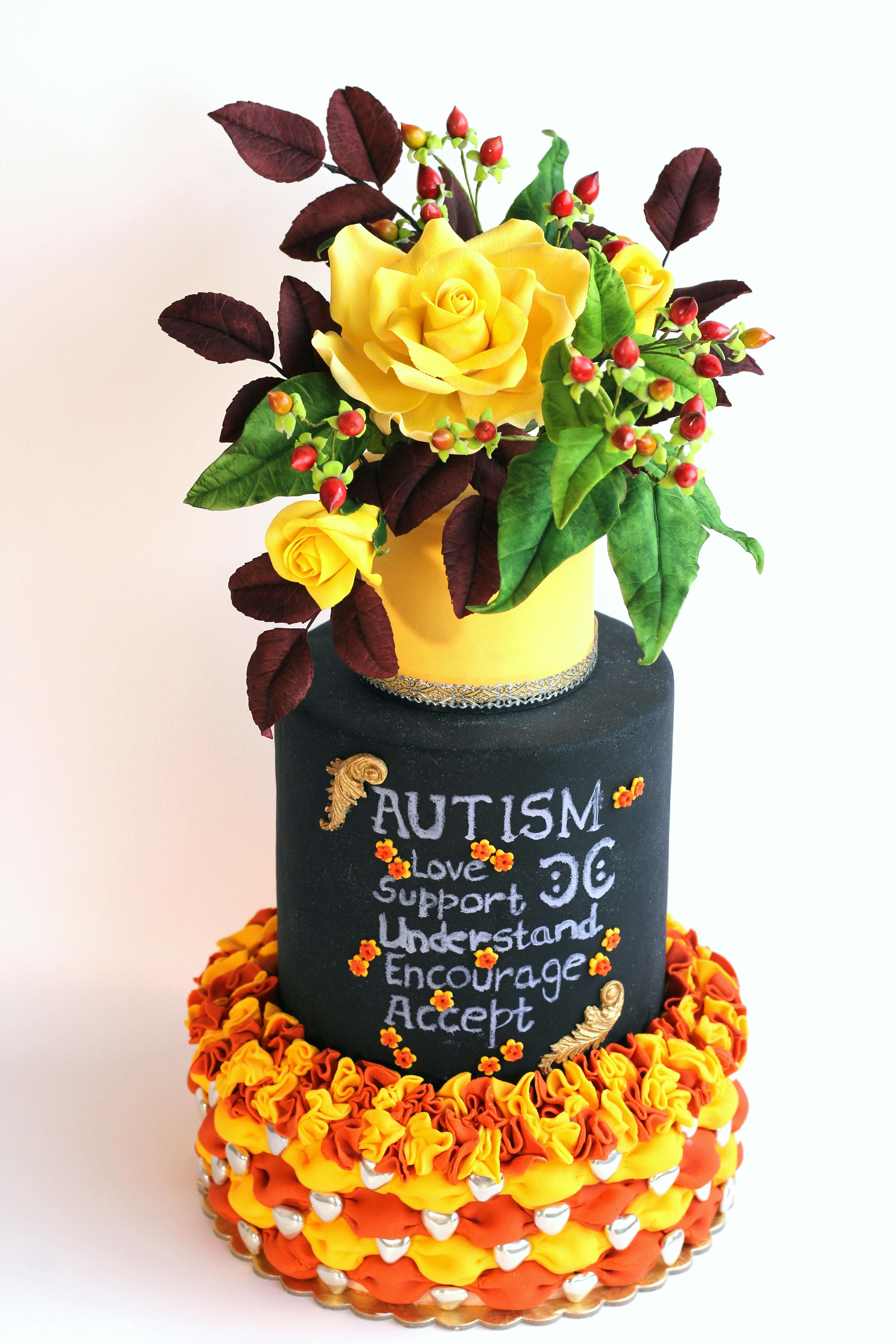 flower pot of sugar flowers cake