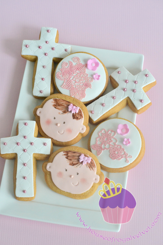 Fondant religious first communion cookies