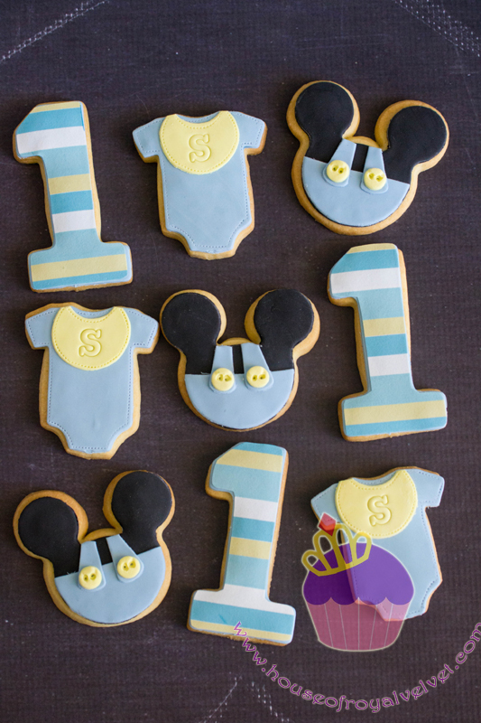 Mickey themed birthday fondant cookies