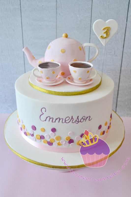 Mini tea party themed birthday cake
