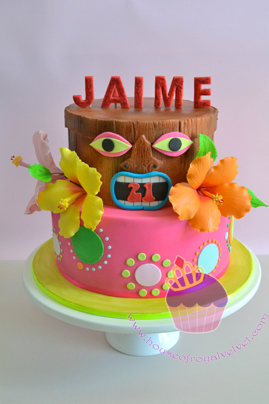 Hawaiian tiki themed birthday cake