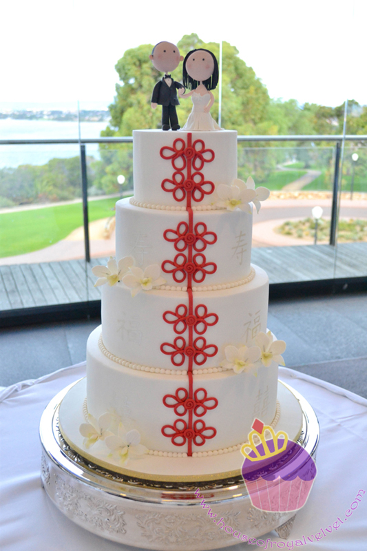 White wedding cake with cute fondant couple topper
