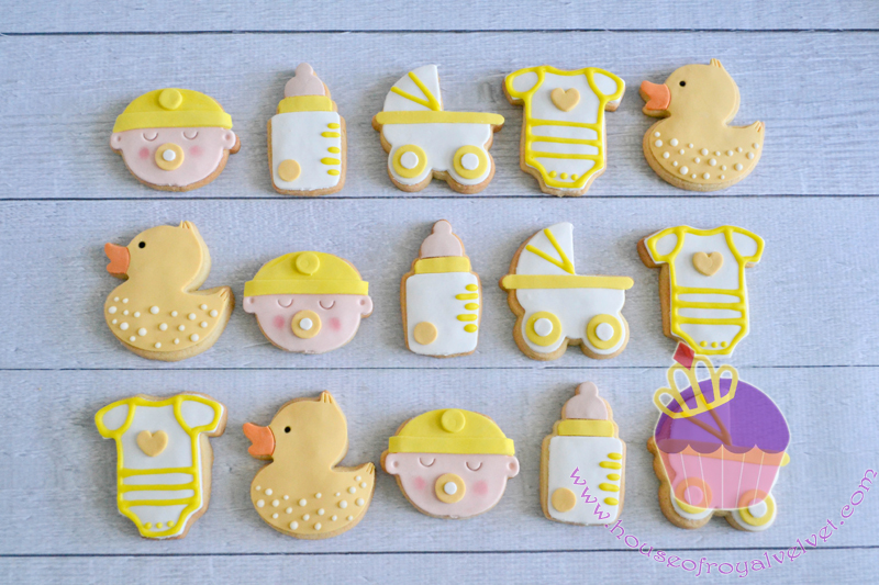 Yellow and white fondant baby cookies