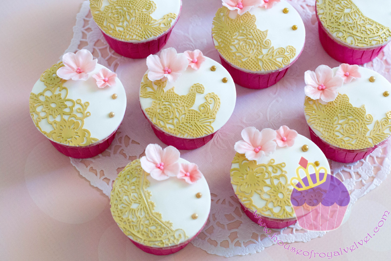 White with gold lace cupcakes