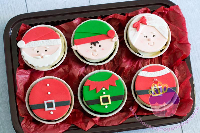 Santa themed fondant cupcakes
