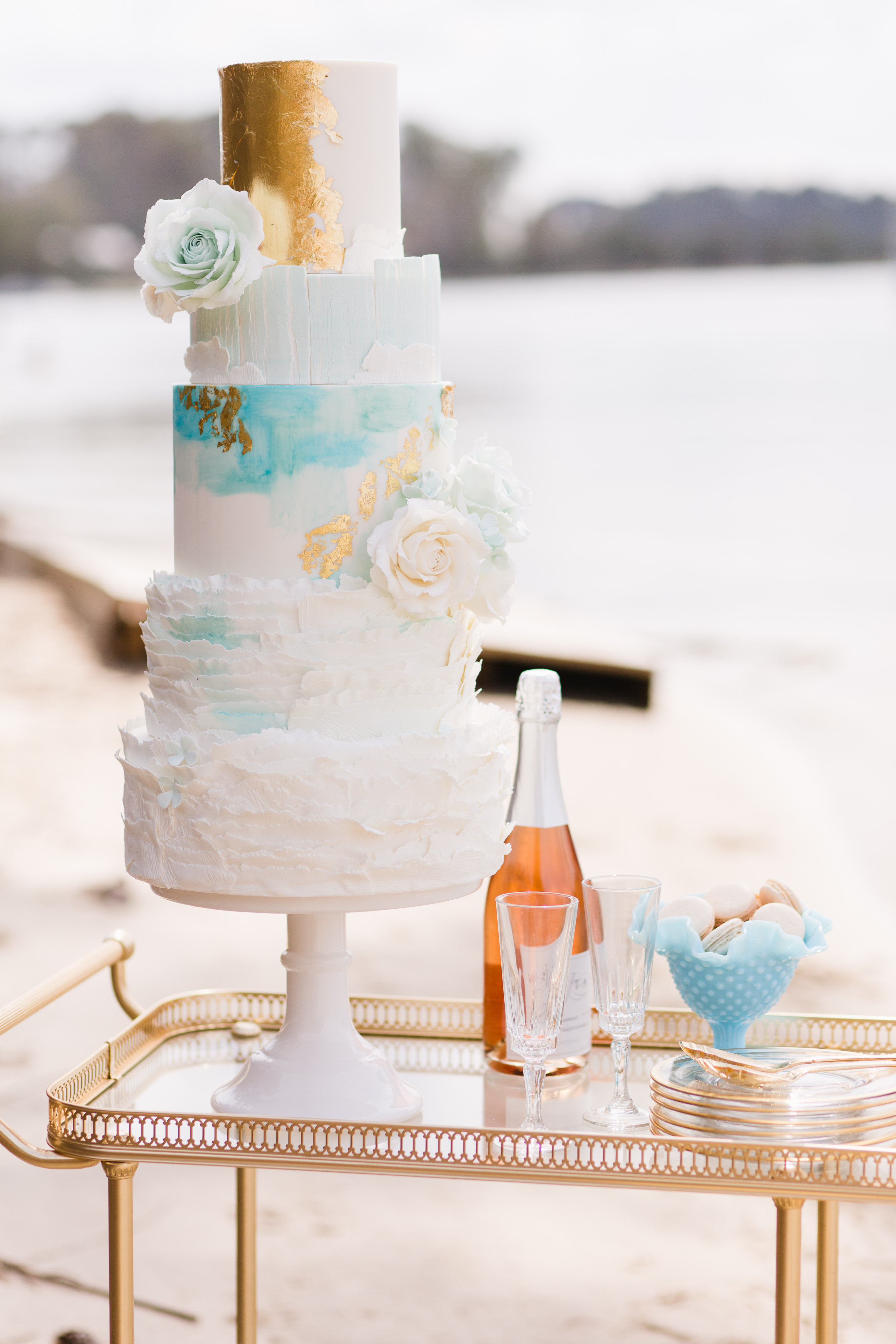 Watercolor and gold wedding