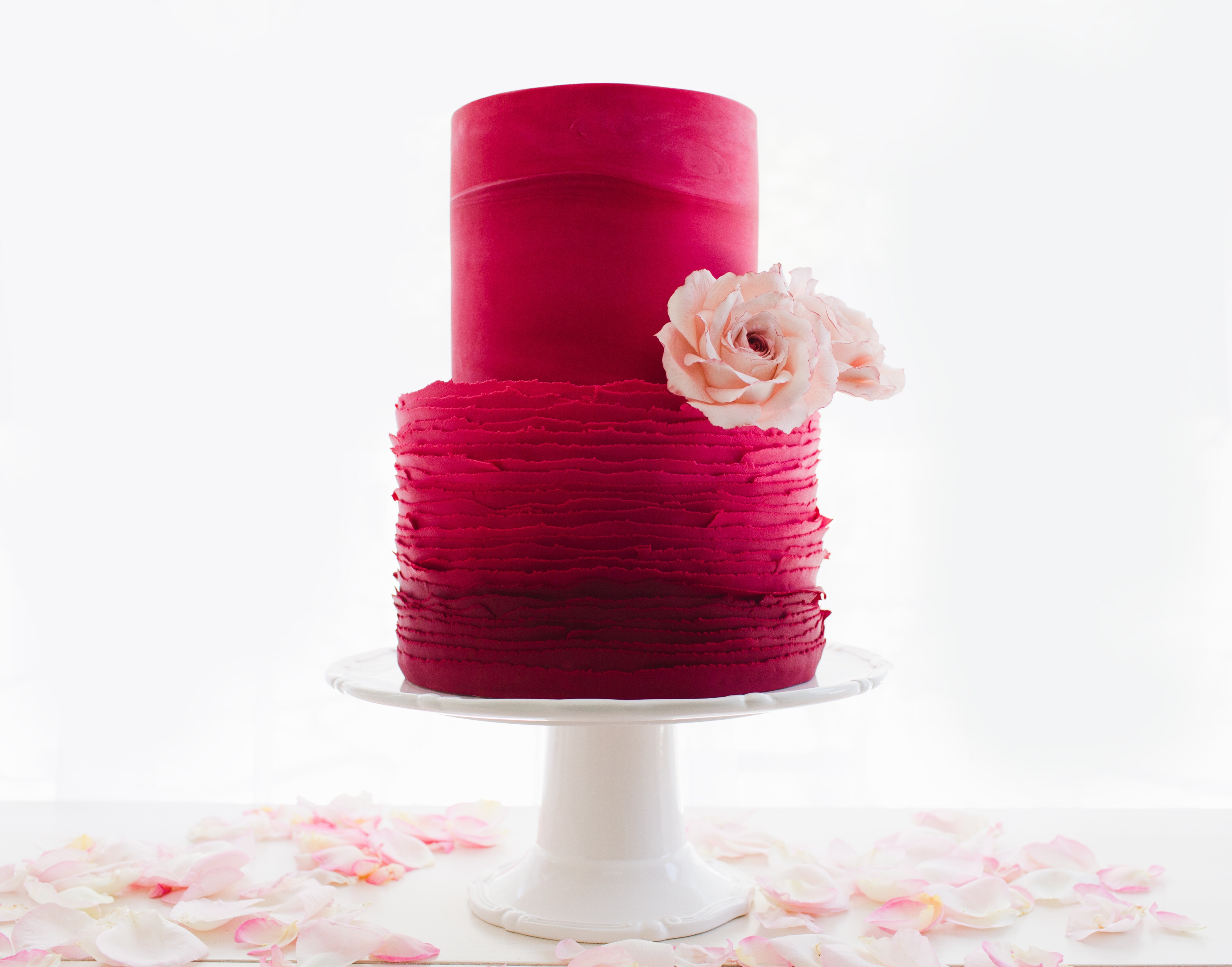 All red ruffle wedding cake