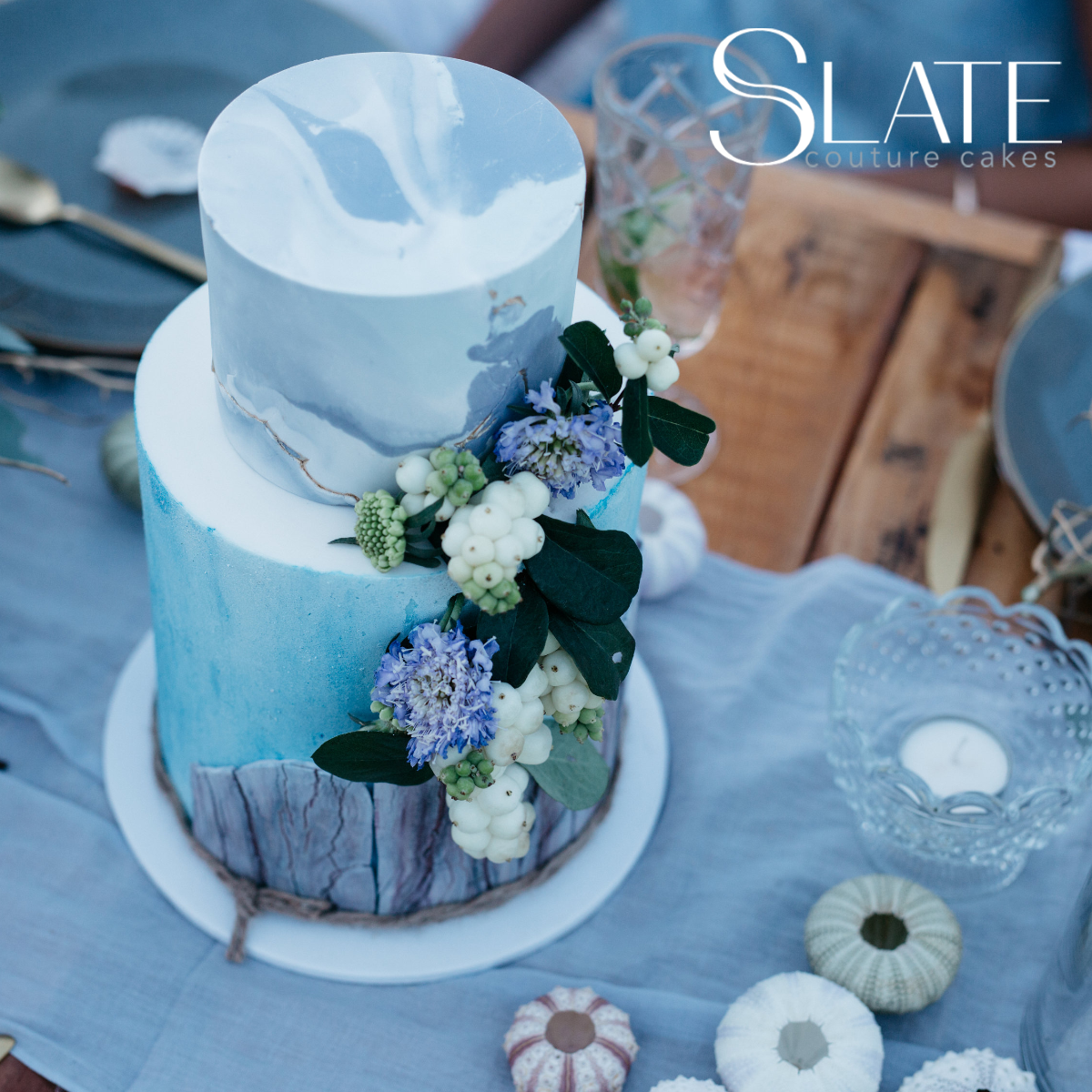 Rustic blue bark wedding cake with sugar flowers