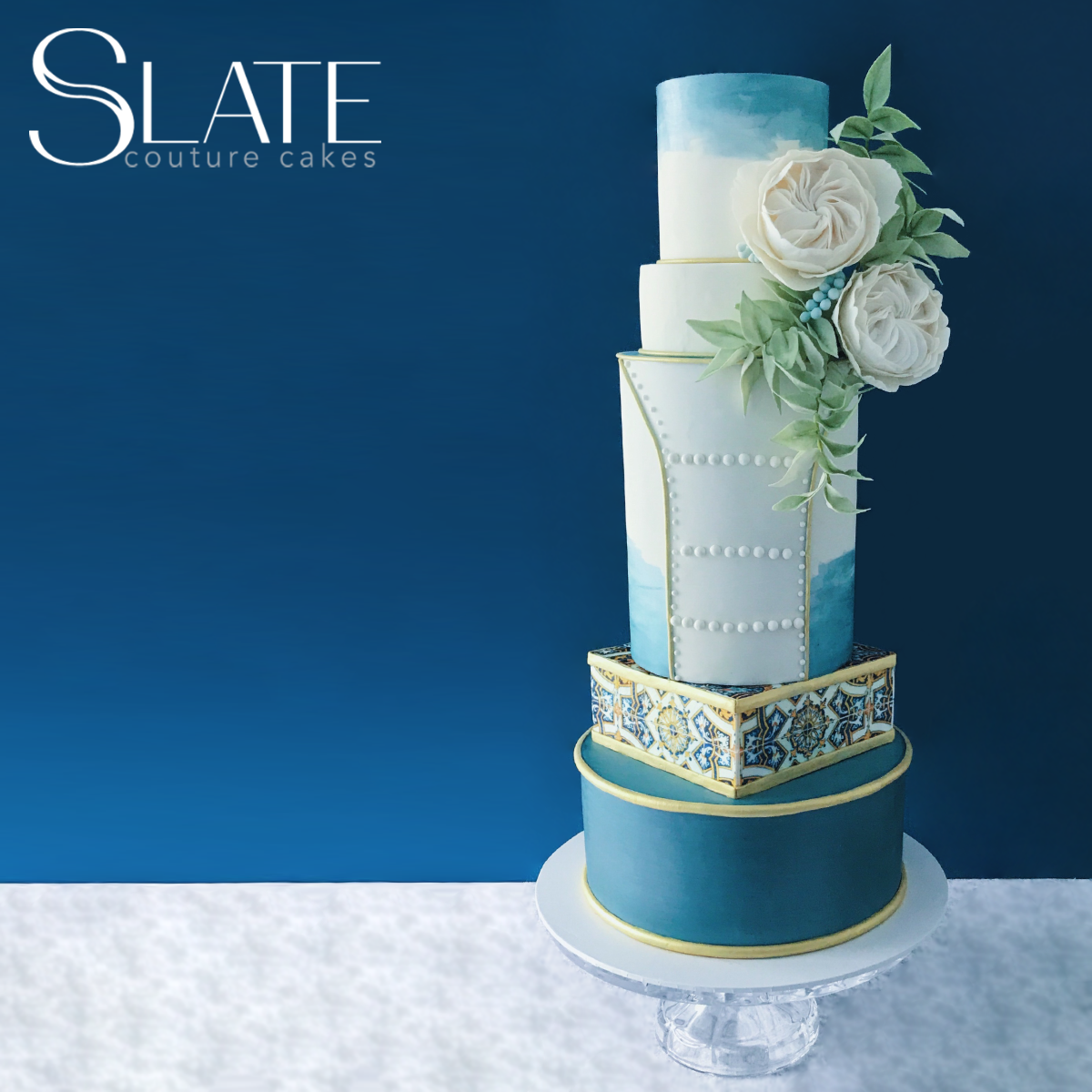 Blue and white non traditional wedding cake