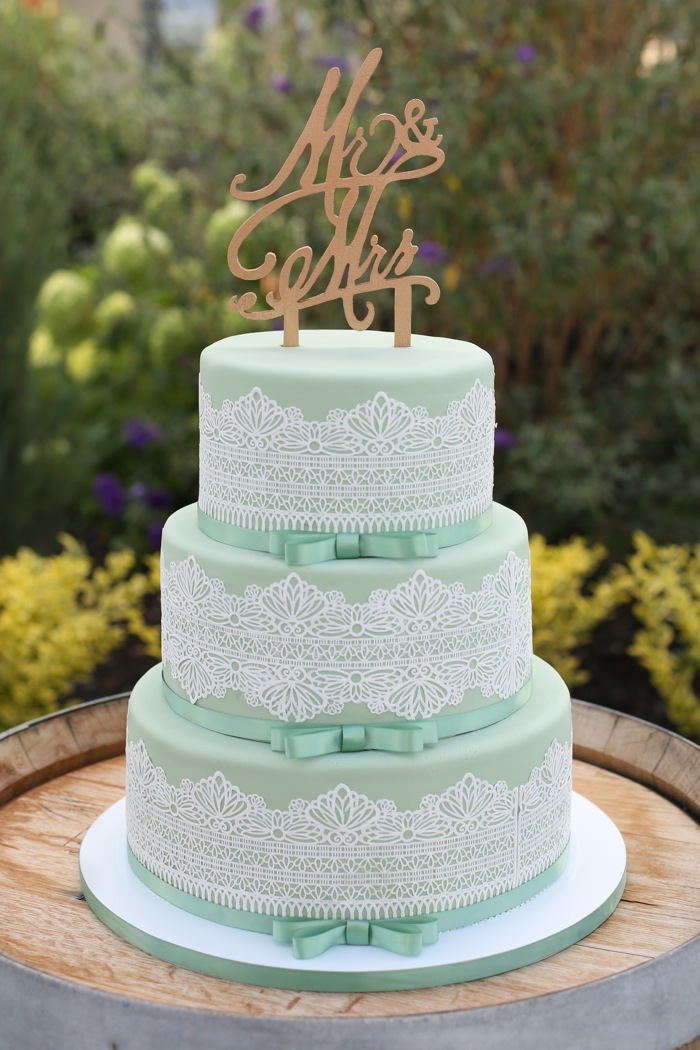 Pastel green and white lace wedding