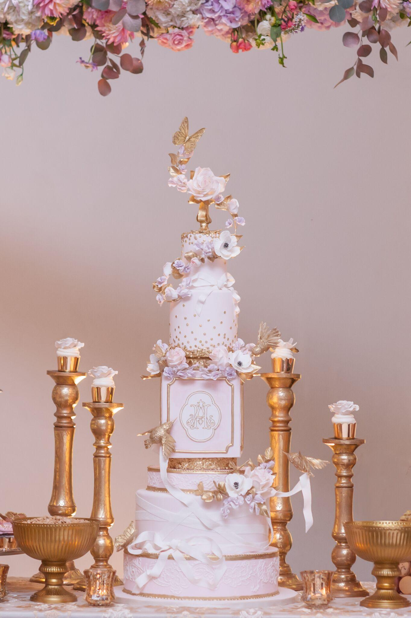 Pink Victorian with ribbons wedding cake