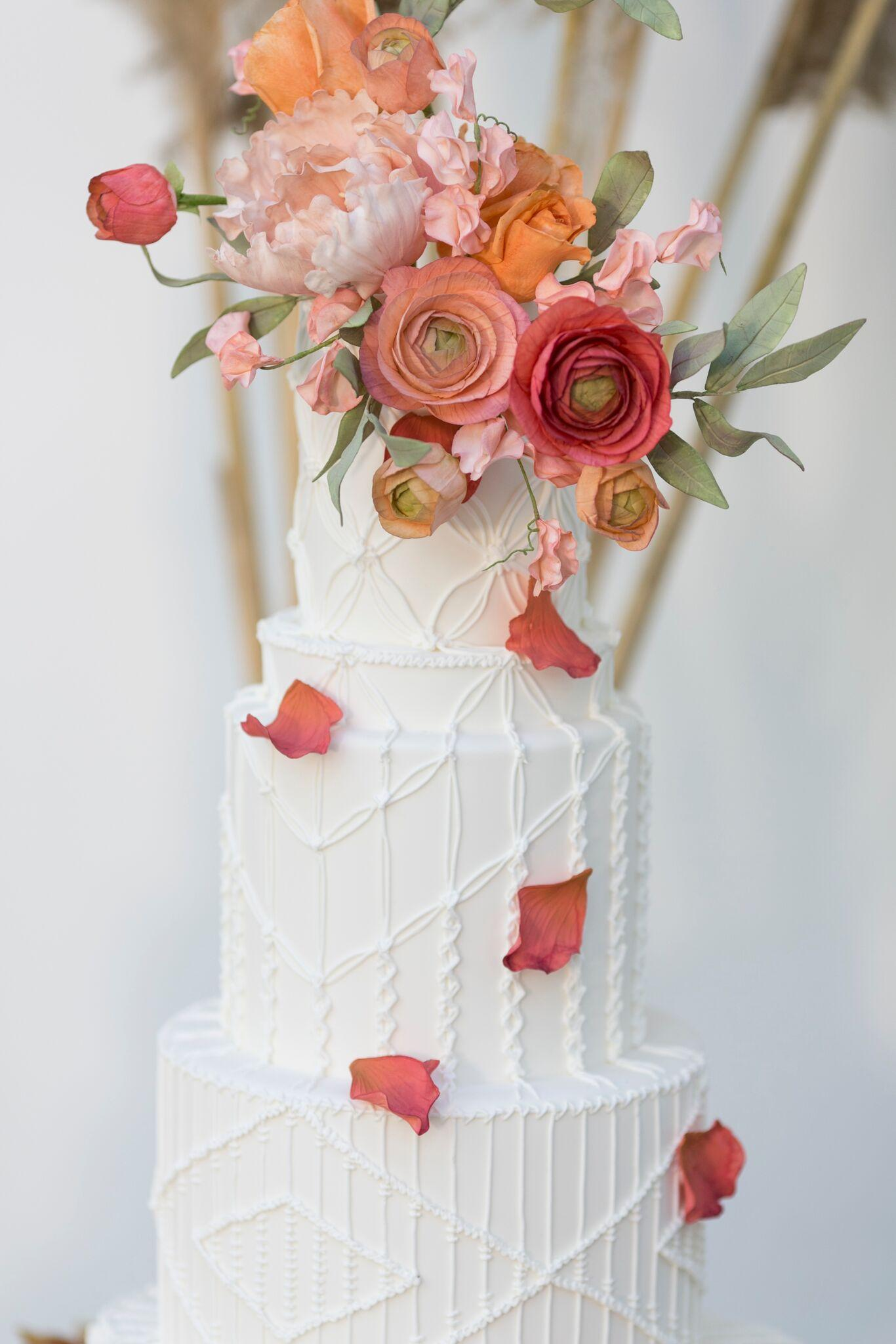 White Wedding with Bright Colored Sugar Flowers