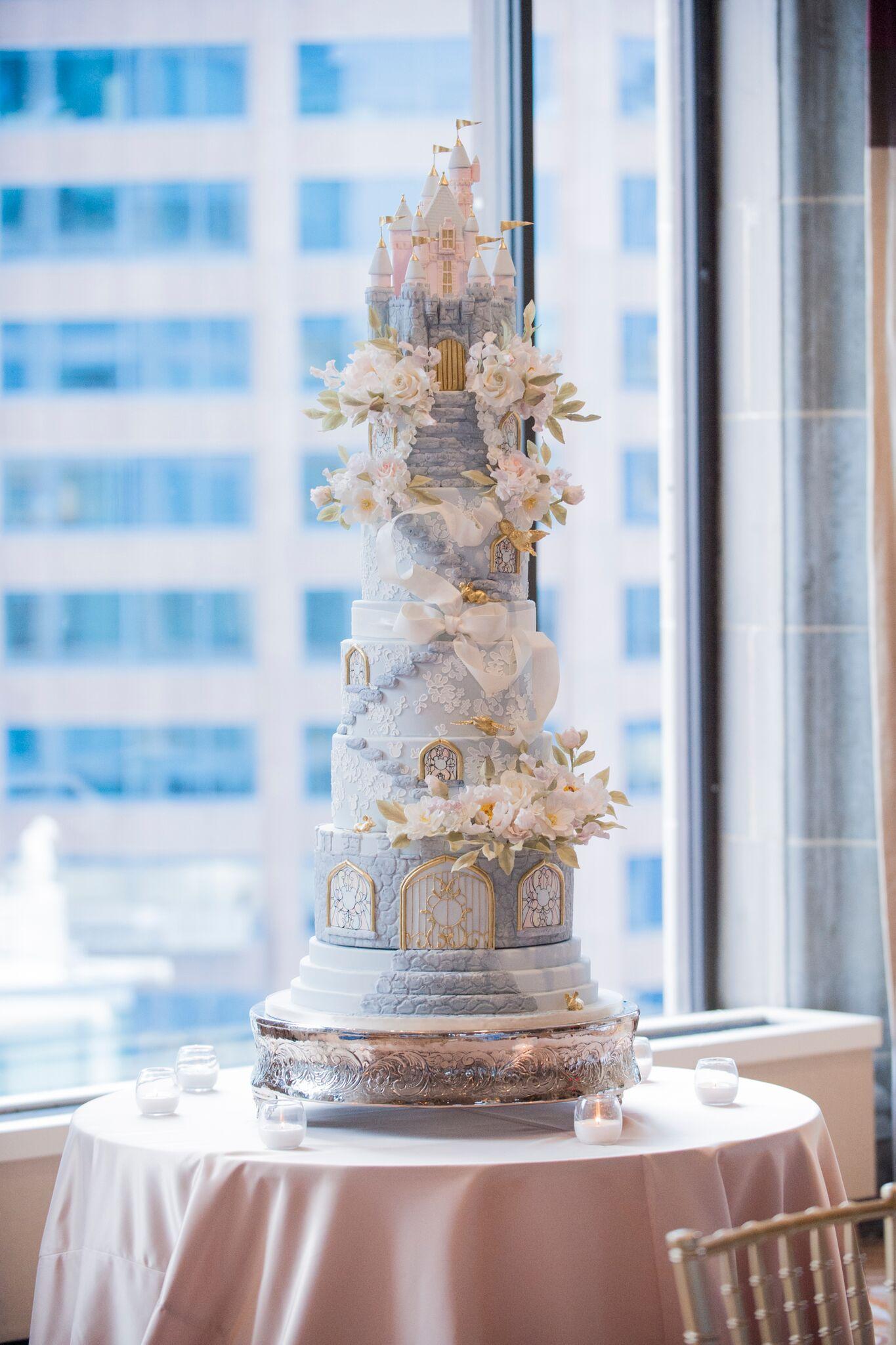 Baby blue Disney Castle Themed Wedding Cake