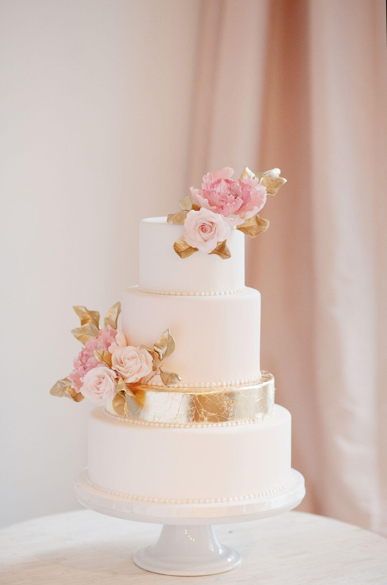 All baby pink with gold wedding cake