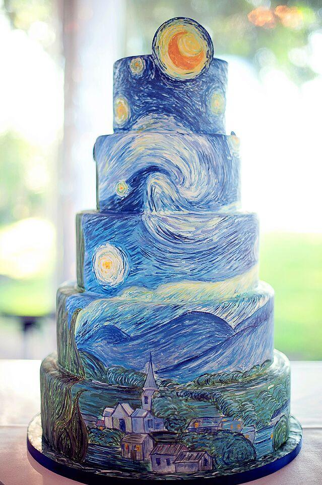 Starry Night Themed Wedding Cake