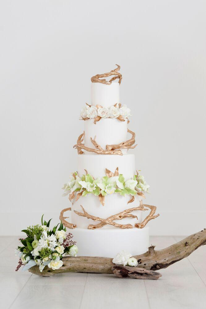 White Bohemian Wedding with branches