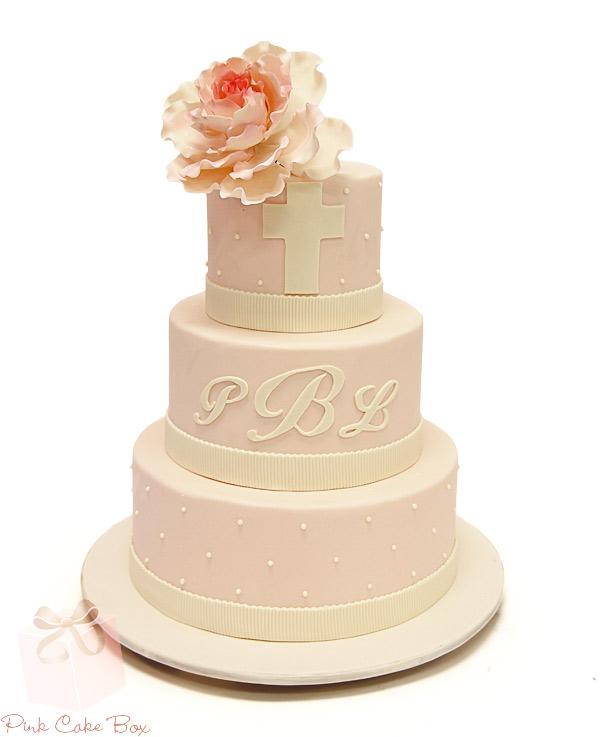 Monogram all baby pink cake
