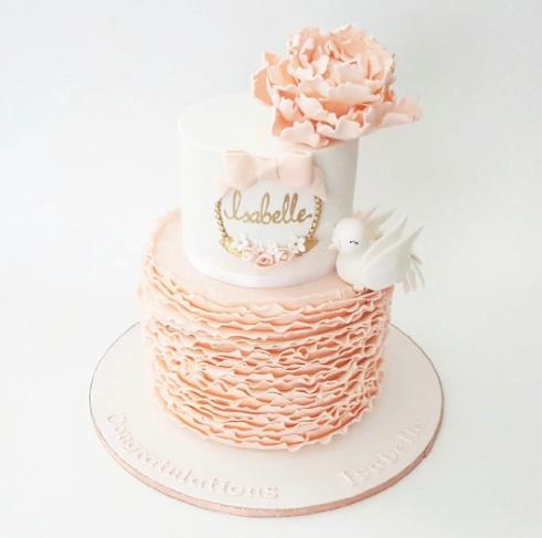 Peach and white ruffle birthday & baby cake
