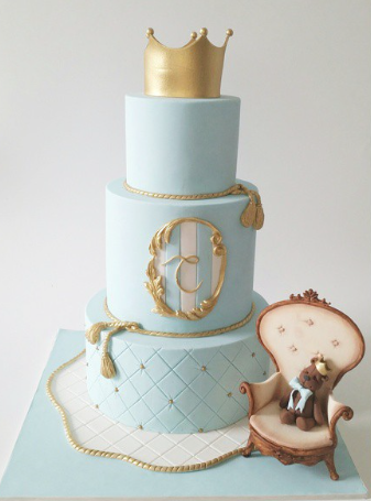 Light blue and gold little prince baby cake