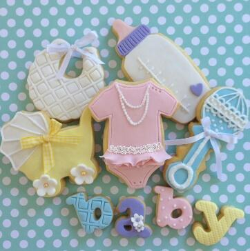 Baby girl shower fondant cookies