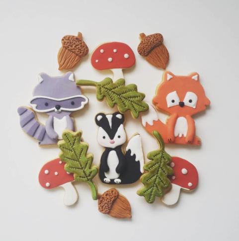 Woodland creature fondant cookies