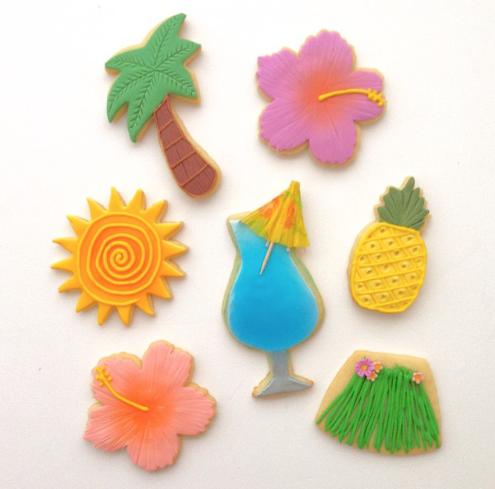 Summer resort themed fondant cookies