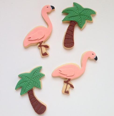 Flamingo and palm tree fondant cookies