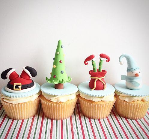 Fun Christmas cupcake toppers