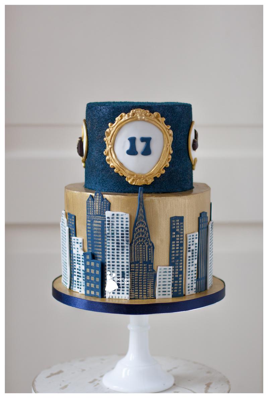 Blue Velvet NYC cityscape birthday