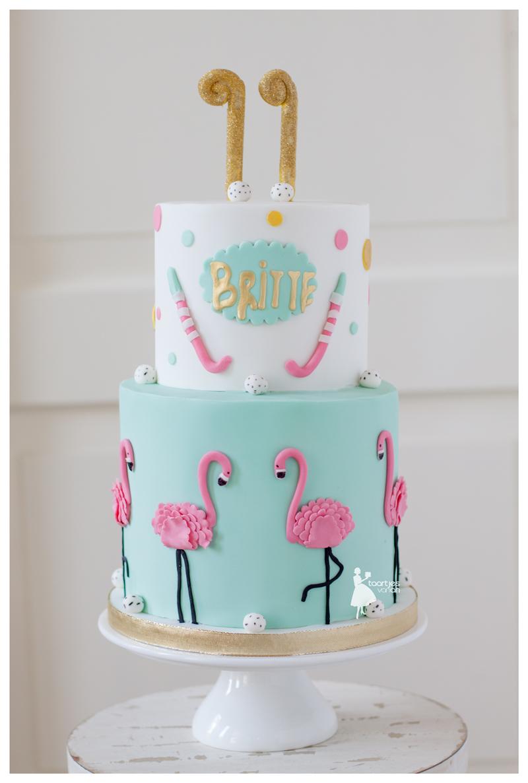 Turquoise & White Pink Flamingo Birthday