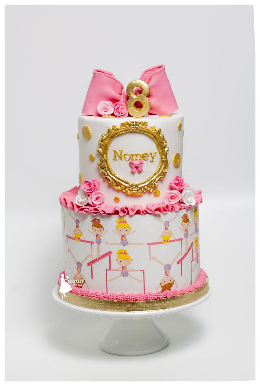 Pink & White gymnastics themed girl birthday