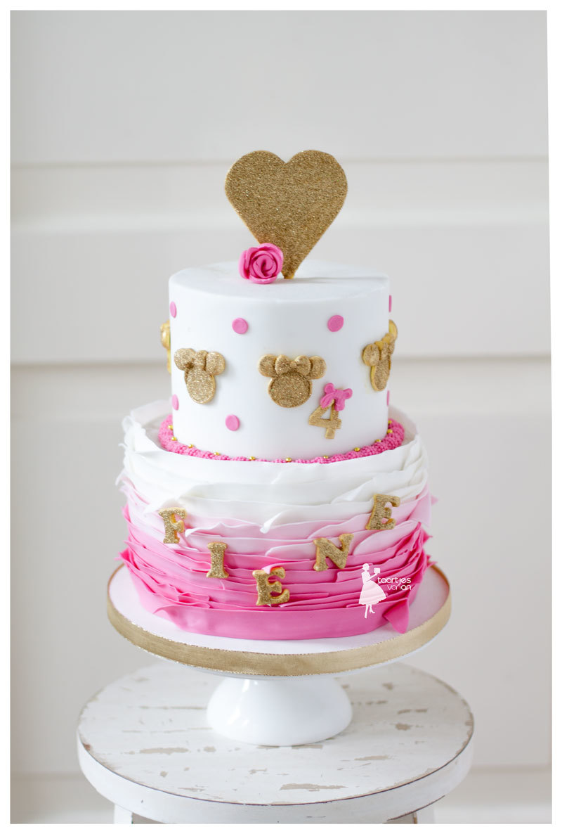 Pink and white ombre minnie mouse ruffle girls birthday