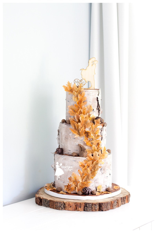 Rustic bark wedding cake with orange sugar leaves