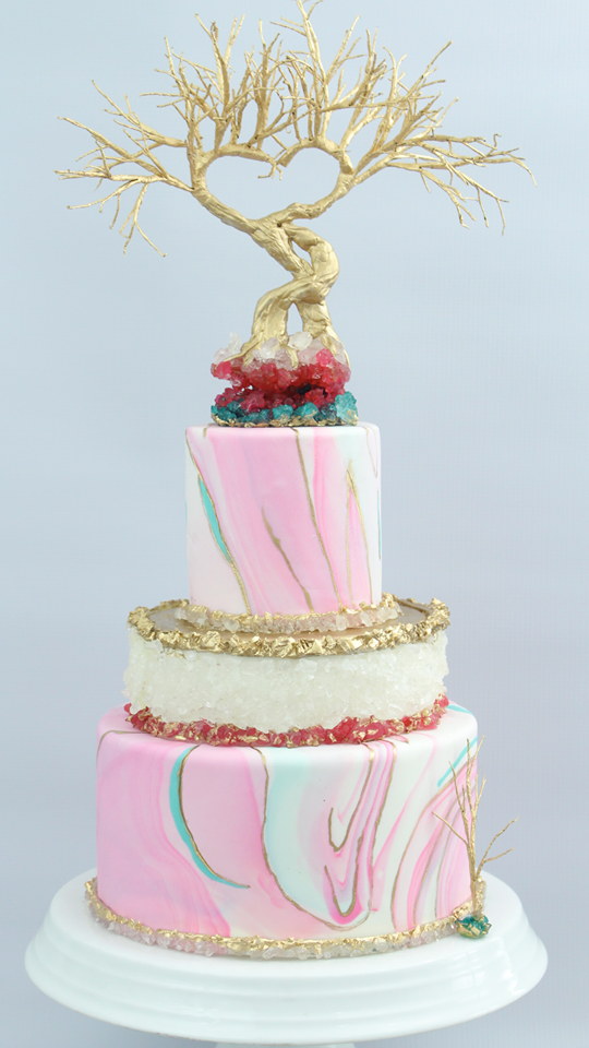 Pink and white marble cake