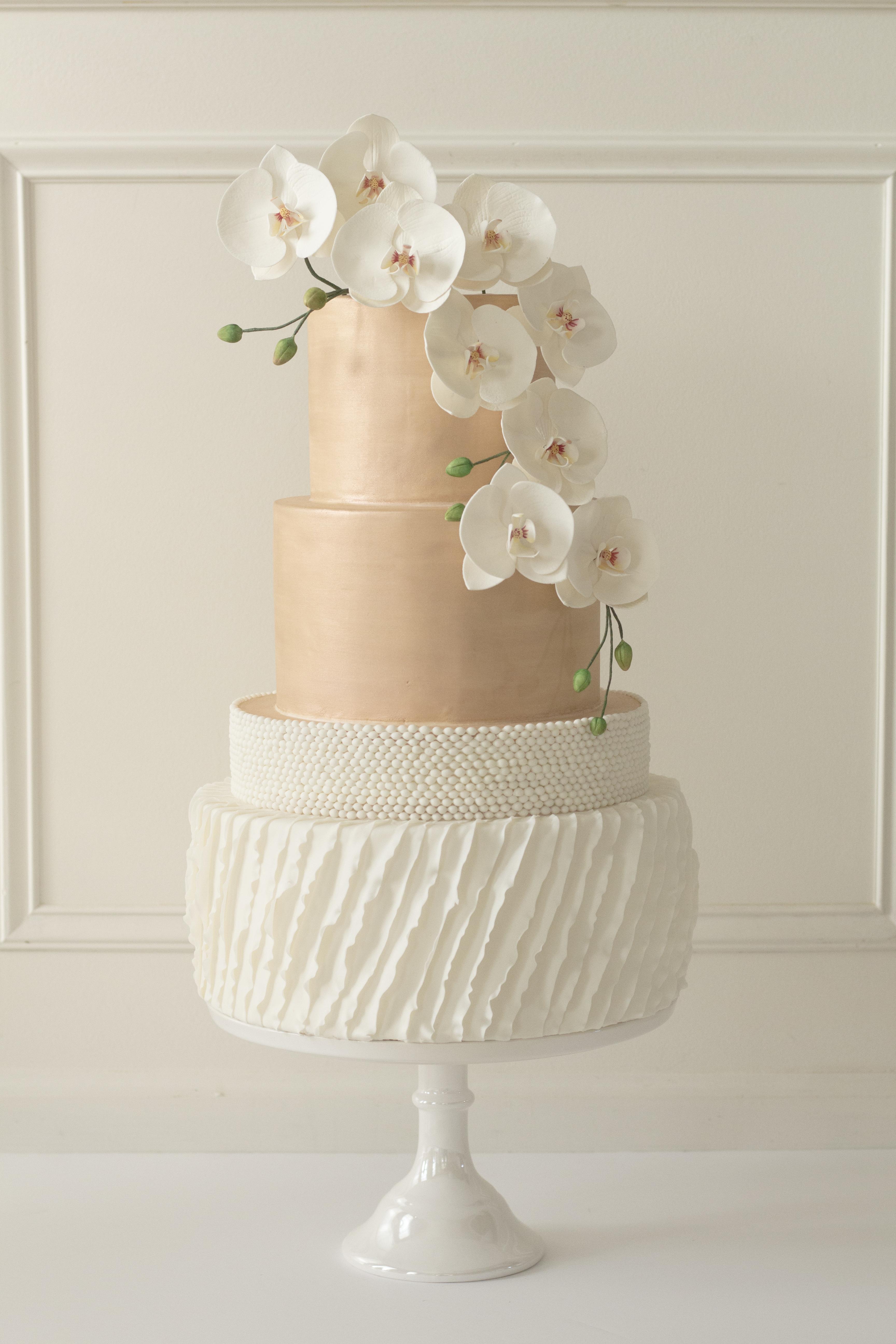 Peach and white wedding