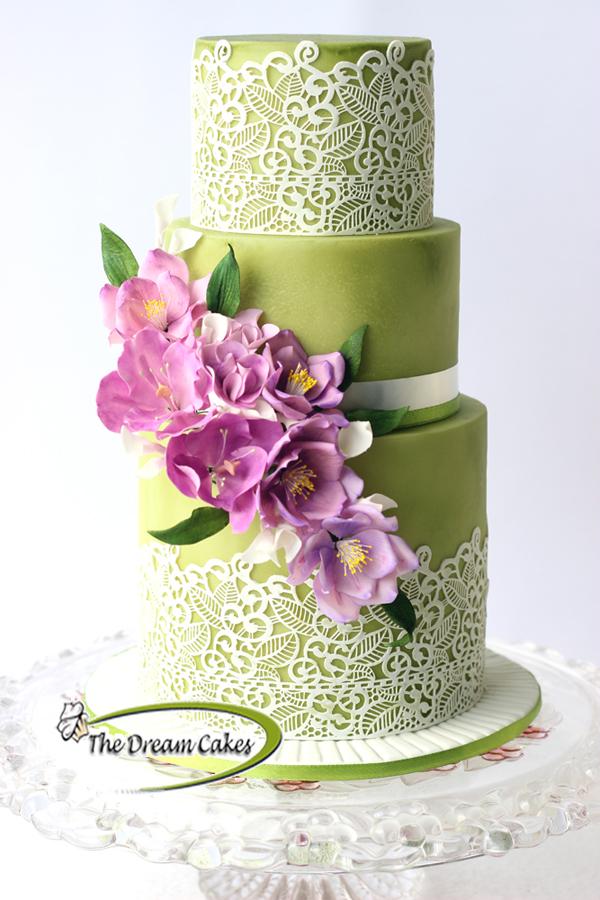 All Bright Green Wedding Cake