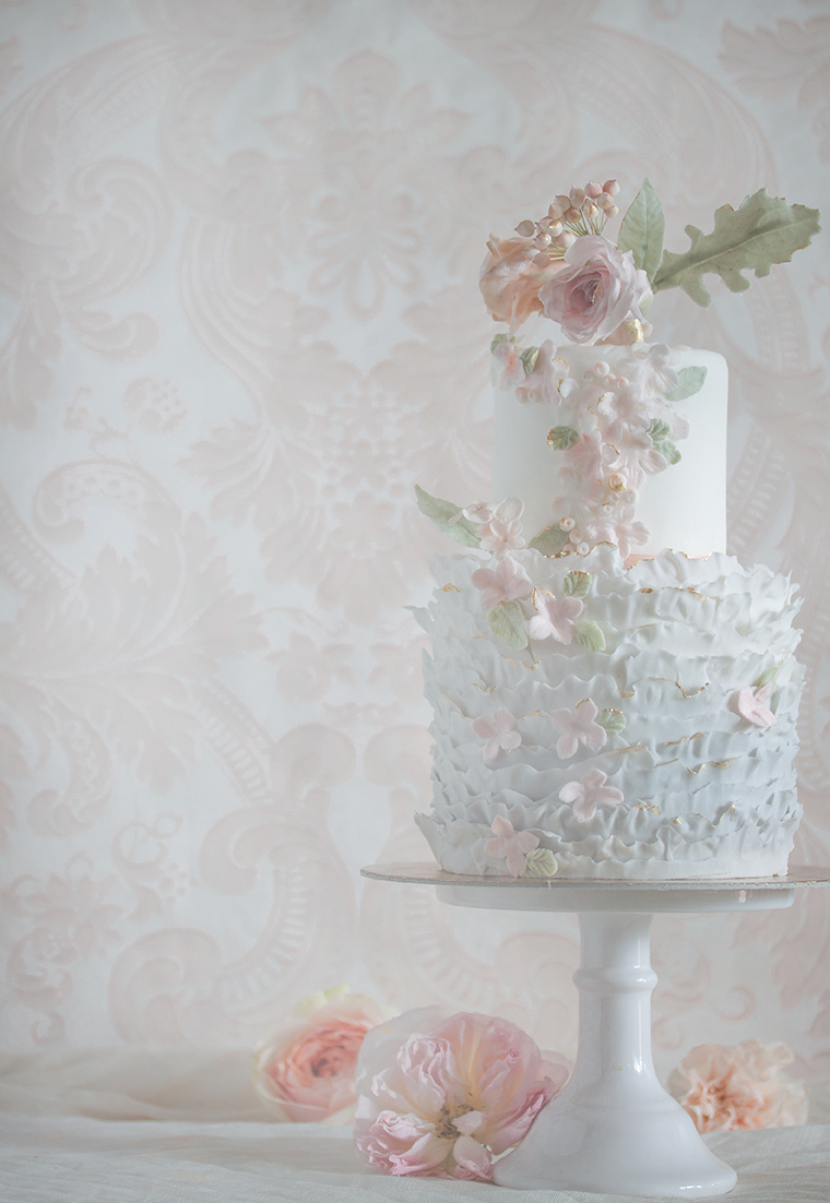 White & Baby Blue Ruffle wedding cake