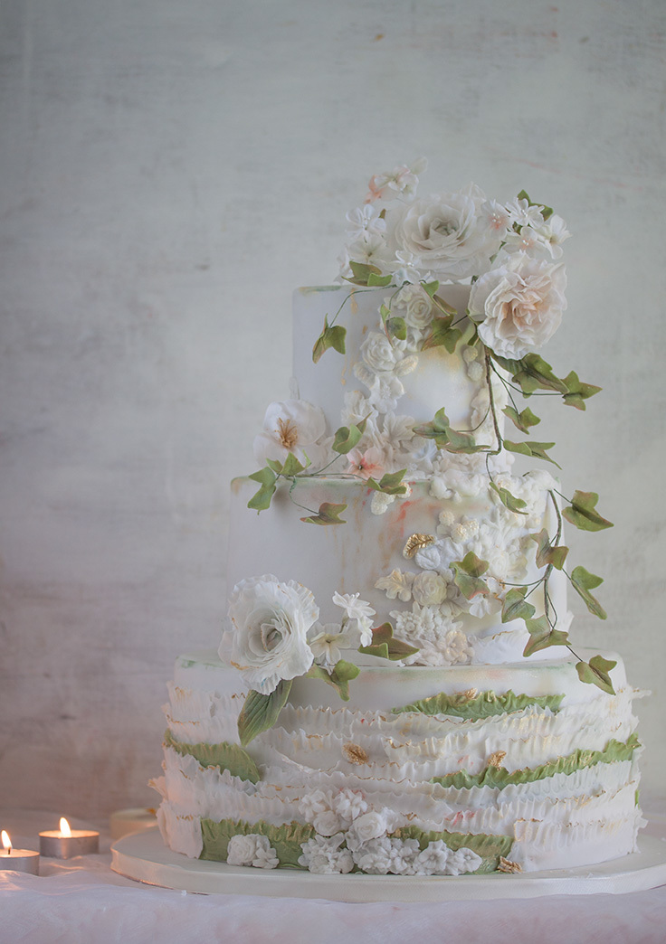 White & Green Ruffle Spring Wedding