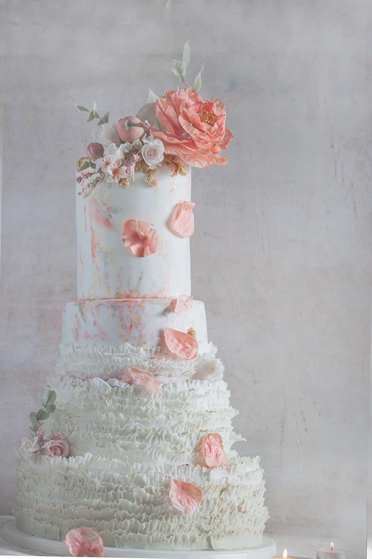 White & Peach Ruffle Wedding Cake